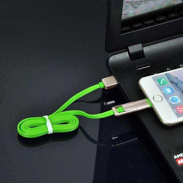 PTron USB To MicroUSB & Lightning Data Cable Sync Charging Cable For All Smartphones Green