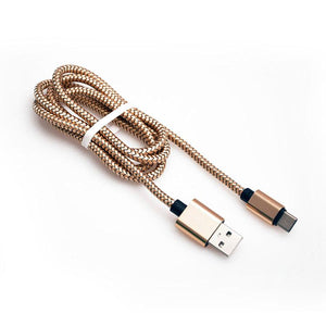 PTron USB Type C Cable Data Sync Charging Cable For All Type C Compatible Smartphones (Gold)