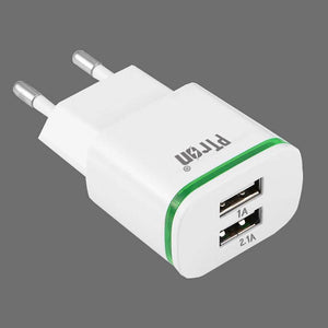 PTron Electra 2 USB Ports 2.1A Travel Charger With Light Wall Mount Charger For All Smartphones
