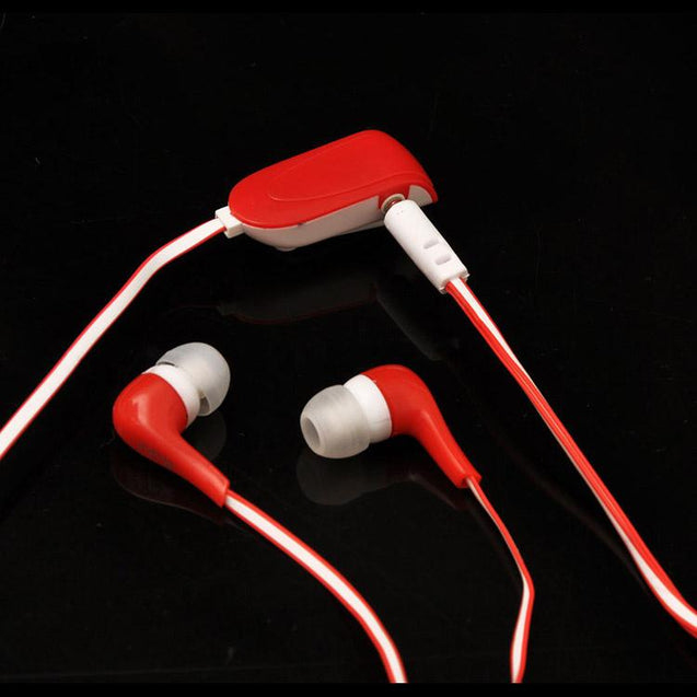 Universal In Ear Earphones With Mic 3.5mm Jack Compatible For All Smartphones (Red/White)