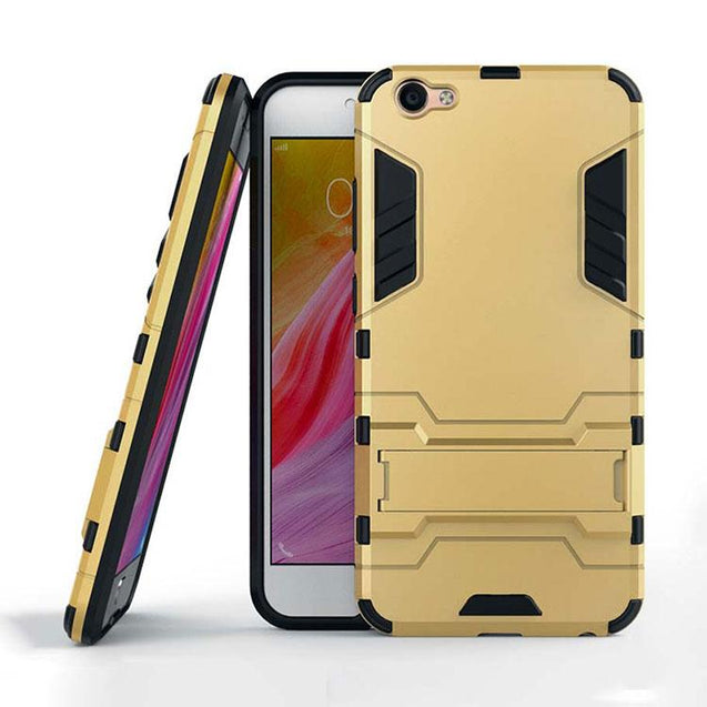 Vivo V5s / V5 Back Cover Hybrid ShockProof Armor Hard Back Case (Gold)