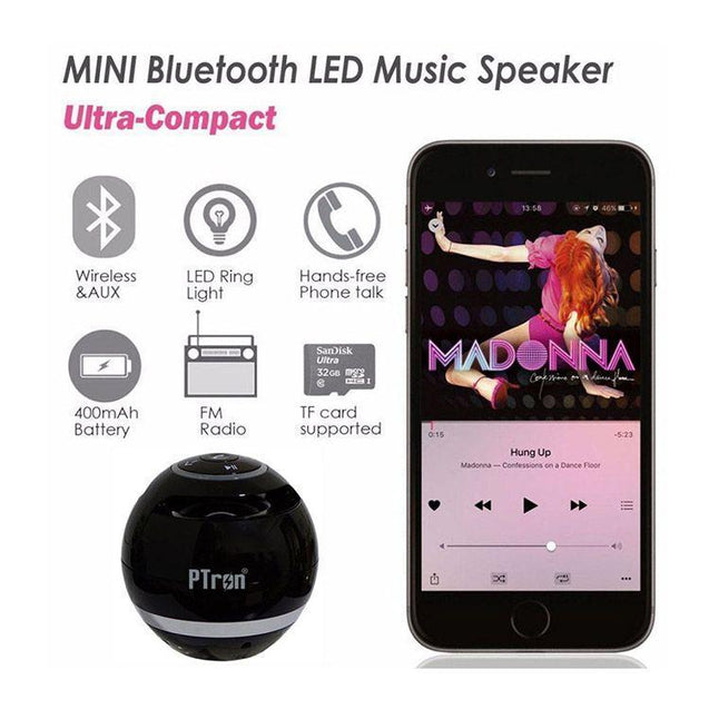 PTron Spin Super Bass Mini Portable Bluetooth Speaker For All Smartphones (Black)