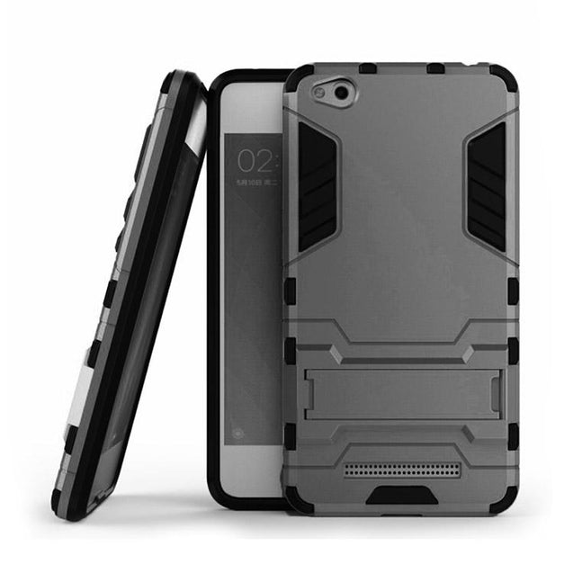 Xiaomi Redmi 4A Back Cover Hybrid Shock Proof Armor Hard Back Case (Grey)