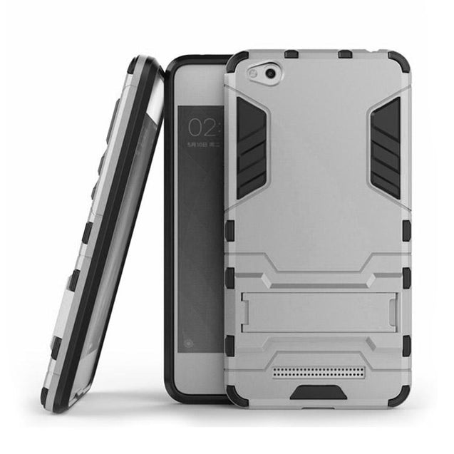 Xiaomi Redmi 4A Back Cover Hybrid Shock Proof Armor Hard Back Case (Silver)