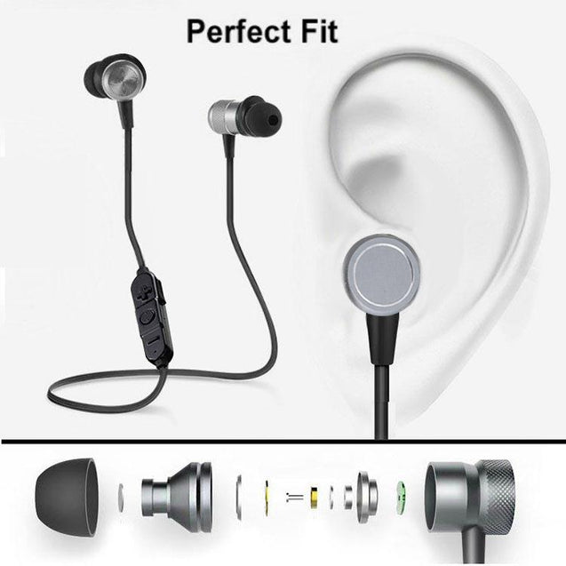 PTron High Quality In-Ear Sports Bluetooth Headset With Magnet Earbuds (Black/Grey)