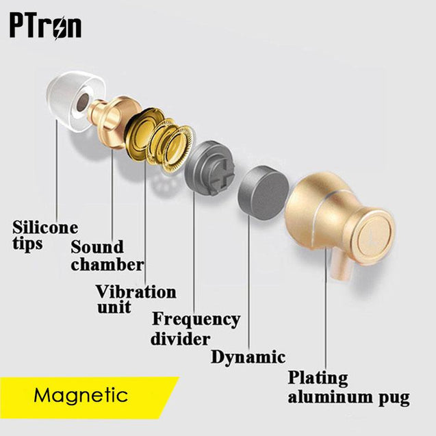 Original PTron Magg India's Best In-Ear Headphone For Samsung Galaxy S9 (Gold/Black)