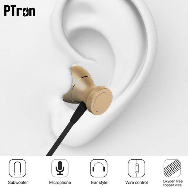 Original PTron Magg India's Best In-Ear Headphone For Samsung Galaxy Tab E 8.0 (Gold/Black)