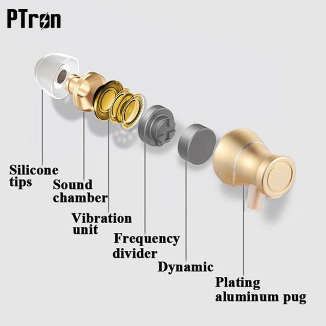 Original PTron Magg India's Best In-Ear Headphone For Sony Xperia L2 (Gold/Black)