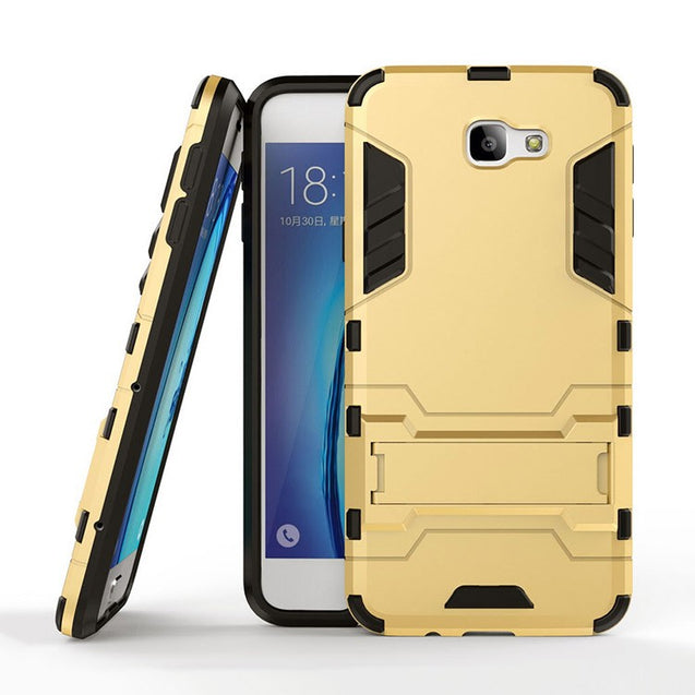 Samsung Galaxy J7 Prime Back Cover Hybrid Shock Proof Armor Hard Back Case (Gold)