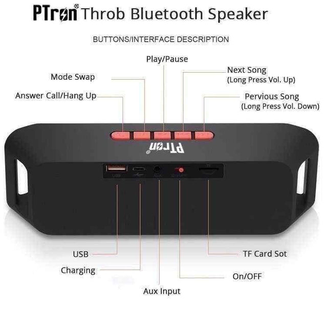 PTron Throb Wireless Bluetooth Speaker For Alcatel 3C (Red)