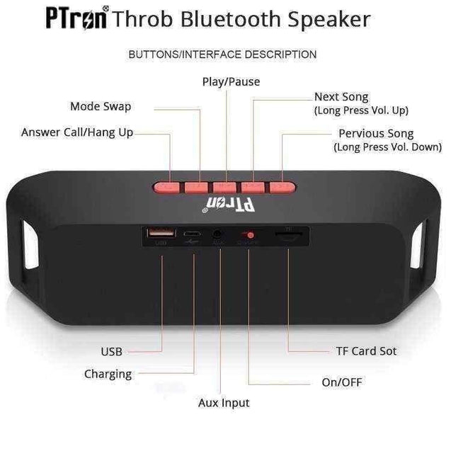 PTron Throb Wireless Bluetooth Speaker For Xiaomi Redmi Note 5 Pro (Red)