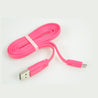 PTron Metal USB To Micro USB Data Cable Sync Charging Cable For All Android Smartphones Pink/Silver