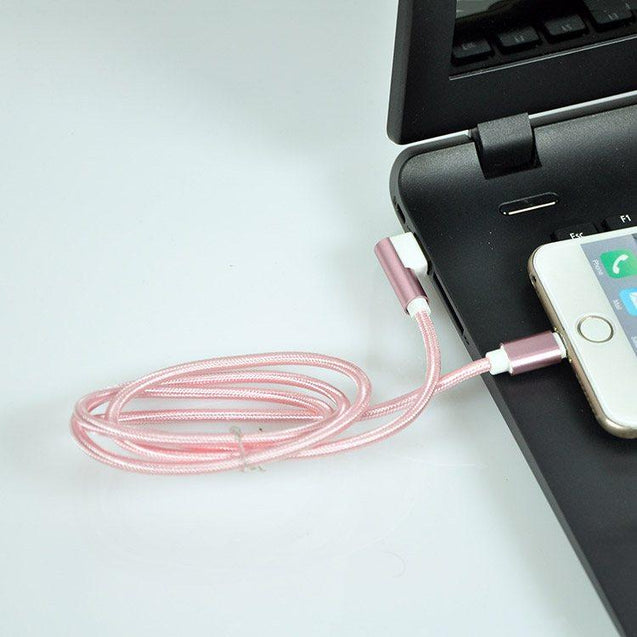 PTron USB To Lightning USB Cable L Shaped Data Cable For All iOS Compatible Smartphones (Pink)