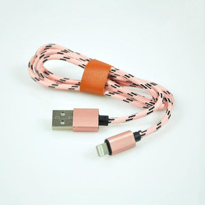 PTron USB To Lightning USB Nylon Braided Data Cable For All iOS Compatible Smartphones (Baby Pink)