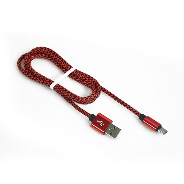 PTron USB To Type C USB Nylon Braided Data Cable For All Type C Compatible Smartphones (Red)