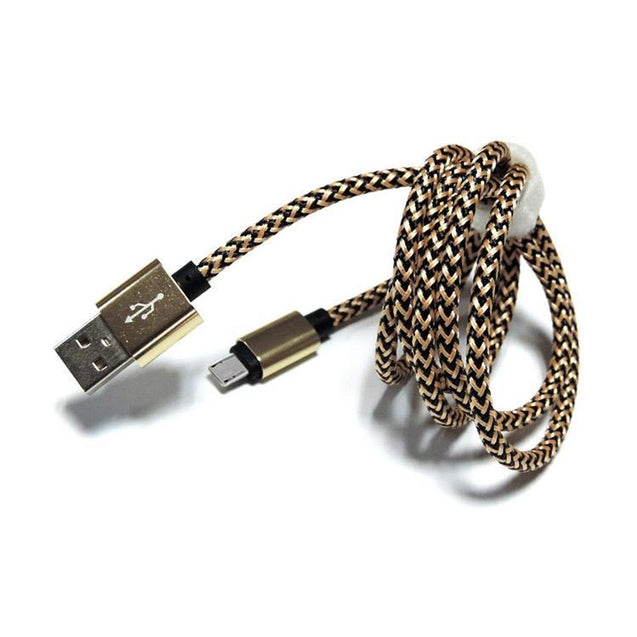 USB To Type C Nylon Braided Data Cable For All Type C Compatible Smartphones (Gold)