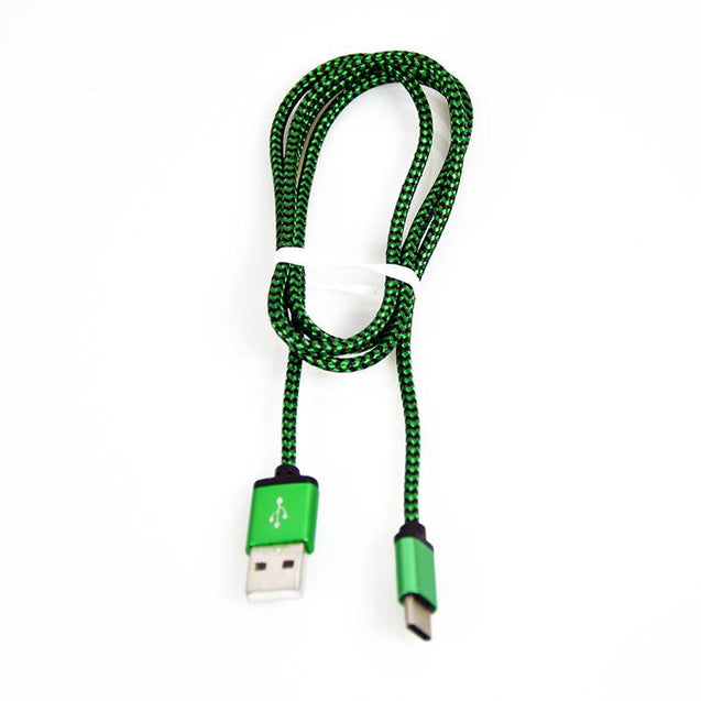 PTron USB To Type C USB Nylon Braided Data Cable For All Type C Compatible Smartphones (Green)