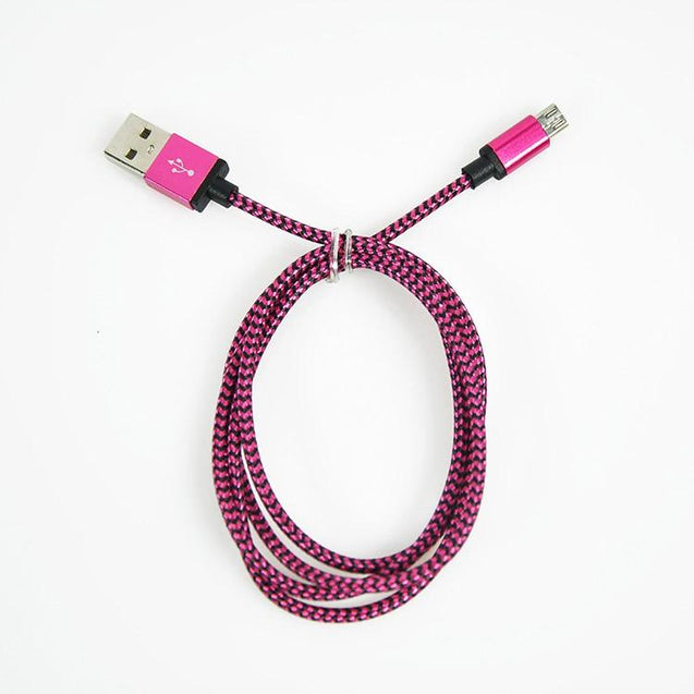 PTron USB To Micro USB Weave Data Cable Sync Charging Cable For All Android Smartphones (Pink)