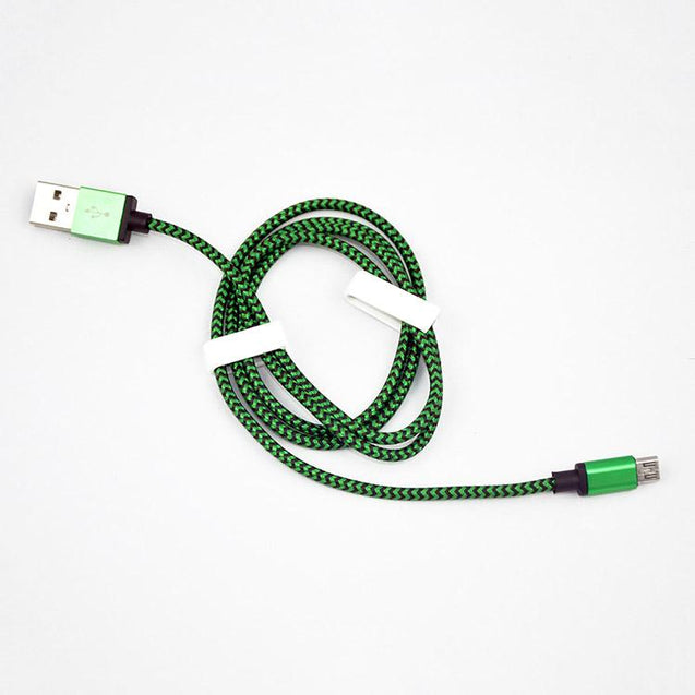PTron USB To Micro USB Weave Data Cable For All Android Smartphones (Green)
