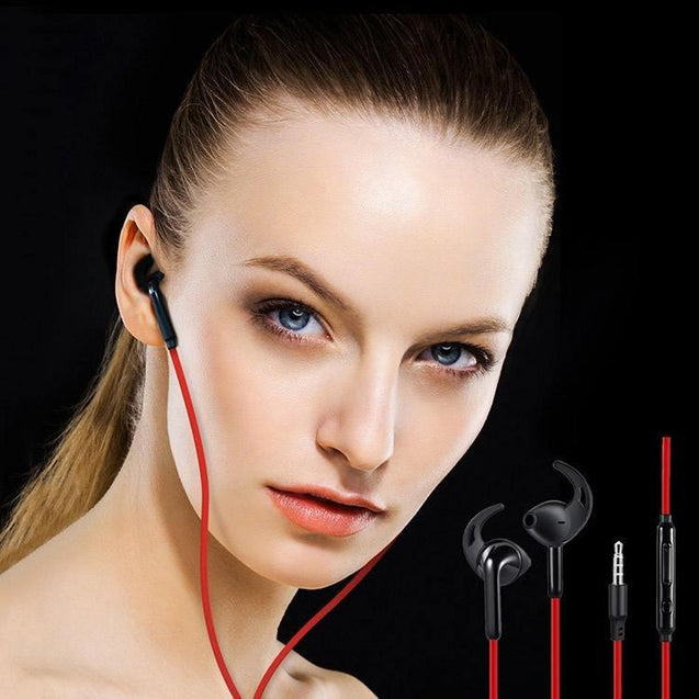 PTron Swift Headset In-Ear Sports Stereo Earphone For All Samsung (Black/Red)