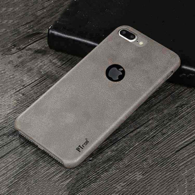 PTron Apple iPhone 7 Plus Back Cover PU Leather with Lichee Pattern Hard Back Case (Grey)