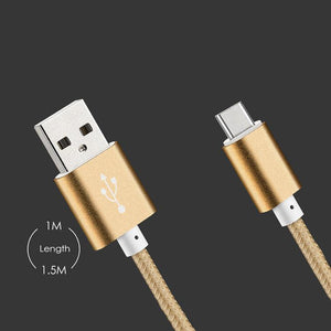 PTron USB To Type C USB Data Cable 2Mtrs Weave Cable For All Type C Compatible Smartphones (Gold)