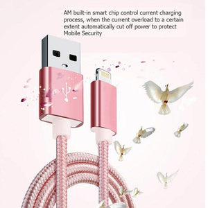 PTron USB To Lightning USB Data Cable 2Mtrs Weave Cable Sync Charging Cable For All iOS Smartphones