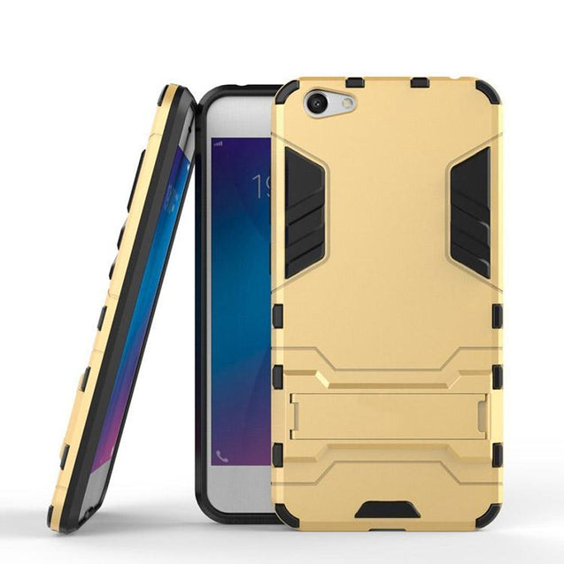 Vivo Y66 Back Cover Hybrid Shock Proof Armor Hard Back Case (Gold)