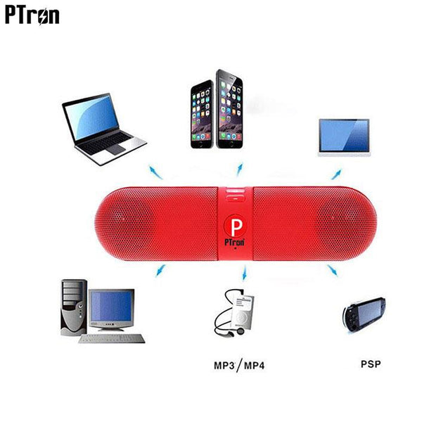 PTron Streak Multifunctional Metal Pill Wireless Bluetooth Speaker for Samsung Galaxy A8 2018 Red