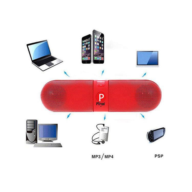 PTron Streak Multifunctional Metal Pill Wireless Bluetooth Speaker For Xiaomi Redmi Note 3 (Red)