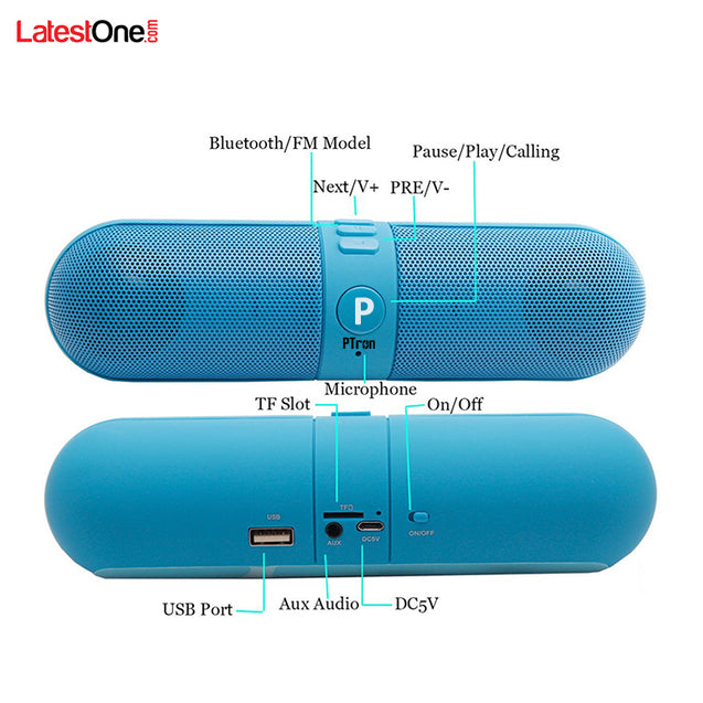 PTron Streak Multifunctional Metal Pill Wireless Bluetooth Speaker For All iOS Smartphones (Blue)