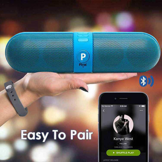 PTron Streak Multifunctional Metal Pill Wireless Bluetooth Speaker For Samsung Galaxy S7 Edge (Blue)