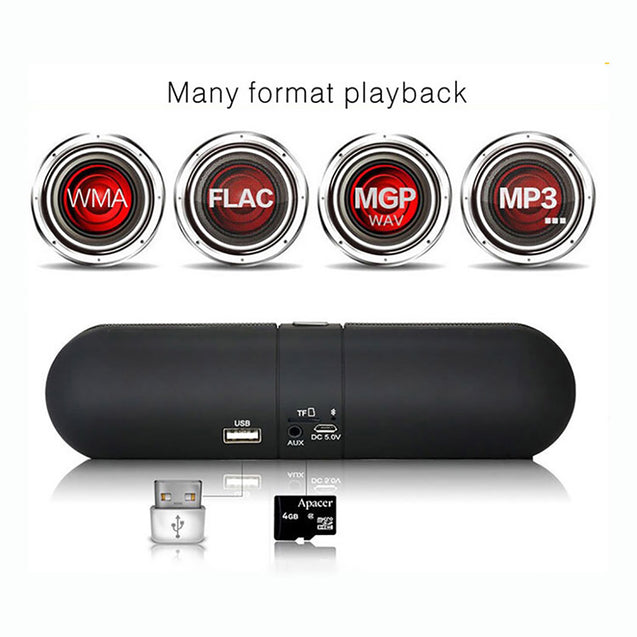 PTron Streak Multifunctional Metal Pill Wireless Bluetooth Speaker For All Samsung Smartphones Black