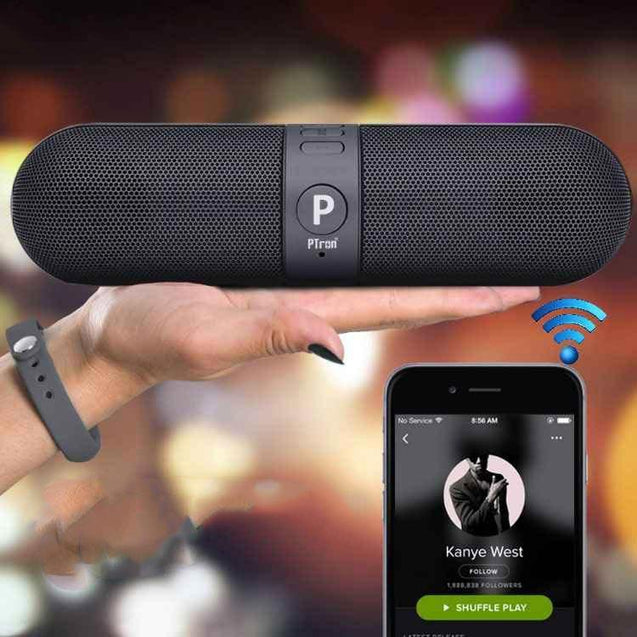 PTron Streak Multifunctional Pill Wireless Metal Bluetooth Speaker for All Smartphones (Black)
