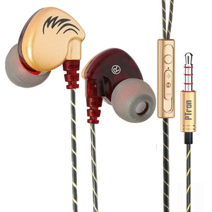 PTron Soundfire Headphone With Mic Sport Stereo In-Ear Headset For All Smartphones (Gold)