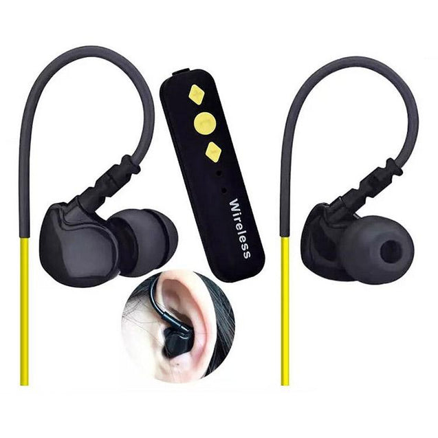 PTron Soundrush Wireless Bluetooth Adapter With Stereo Earphone For Oppo F9 (Yellow)