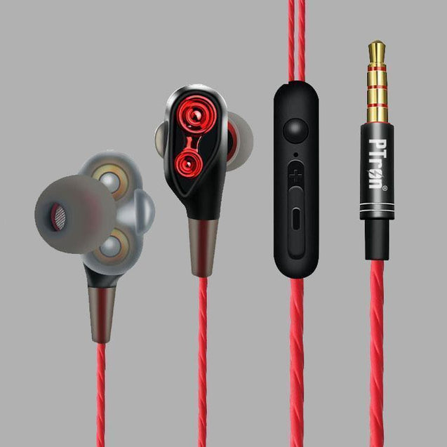 PTron Boom 4D Earphone Deep Bass Stereo Wired Headphone With Mic For Blackberry KEY2 (Red/Black)