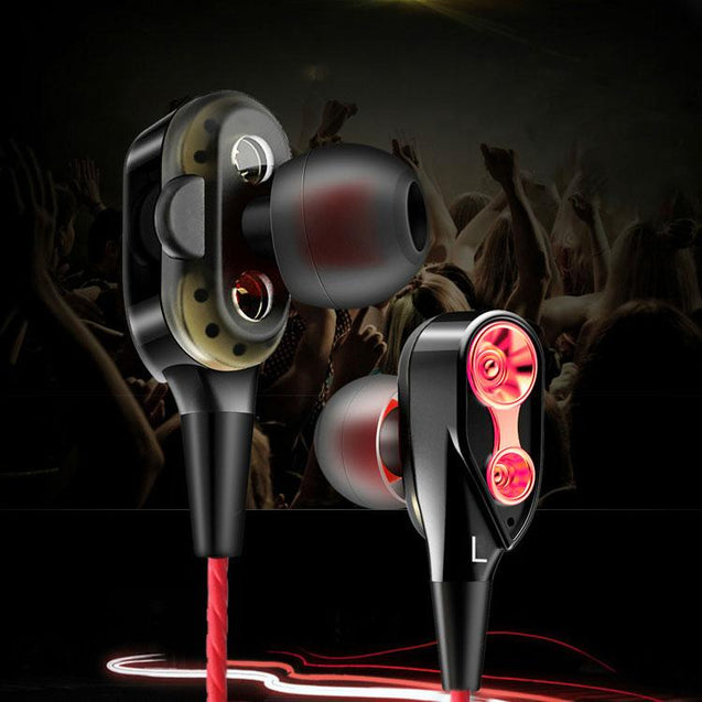 PTron Boom 4D Earphone Deep Bass Stereo Wired Headphone With Mic For All Smartphones (Red/Black)