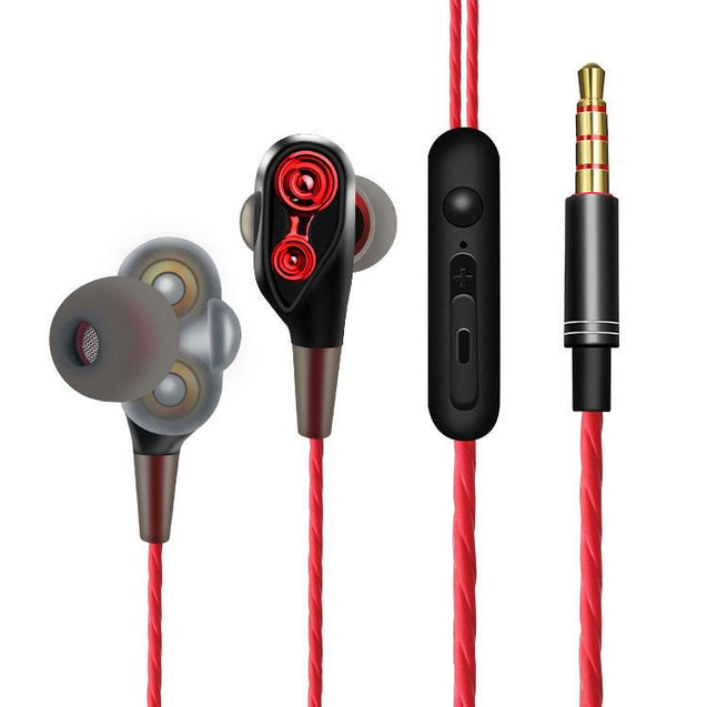 PTron Boom 4D Earphone Deep Bass Wired Headphone With Mic For All Huawei Smartphones (Red/Black)