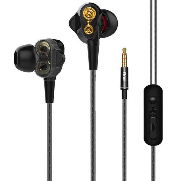 PTron Boom 4D Earphone Deep Bass Stereo Wired Headphone With Mic For All Smartphones (Black/Gold)