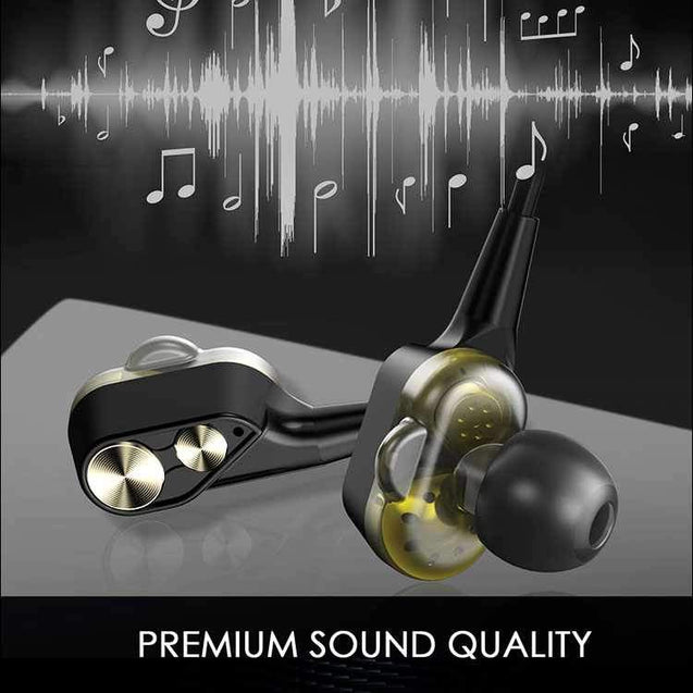 PTron Boom 4D Earphone Deep Bass Stereo Sport Wired Headphone With 3.5mm Jack For Xiaomi Redmi Note 5 Pro (Gold/Black)