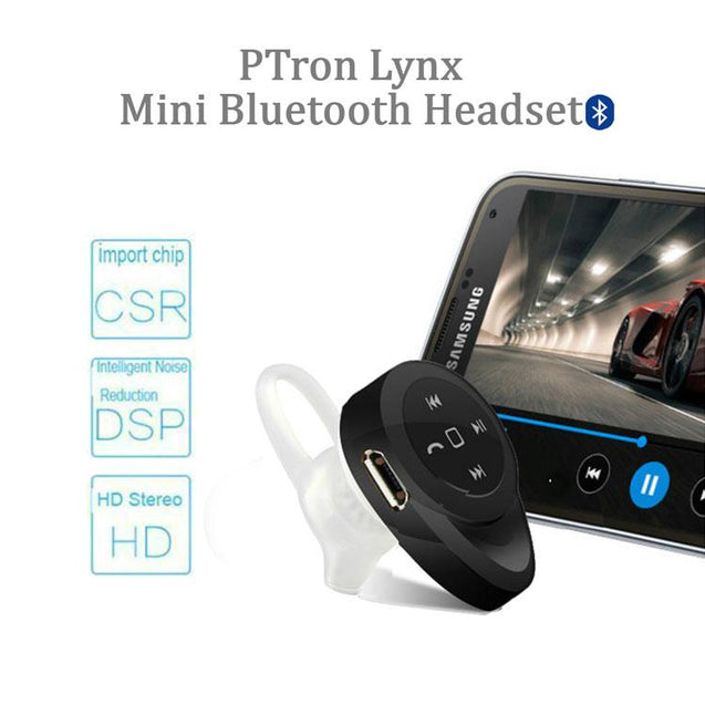 PTron Lynx Premium Quality Wireless Mini Bluetooth Headset For All Oppo Smartphones (Black)