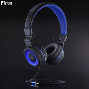 PTron Mamba Stereo Wired Headphone With Mic For All Huawei Smartphones (Black/Blue)
