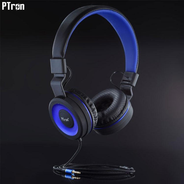 PTron Mamba Stereo Wired Headphone With Mic For Vivo V7 Plus (Black/Blue)