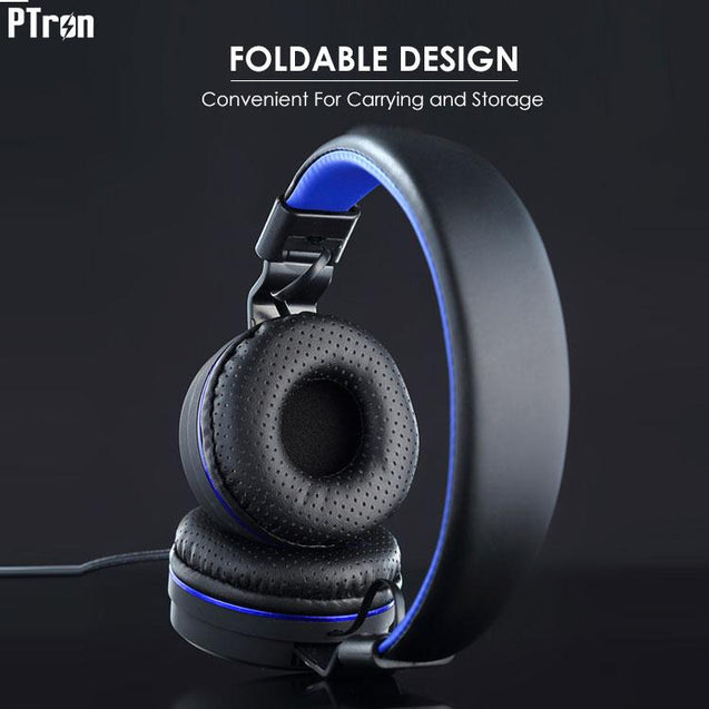 PTron Mamba Stereo Wired Headphone With Mic For Xiaomi Redmi 3S (Black/Blue)