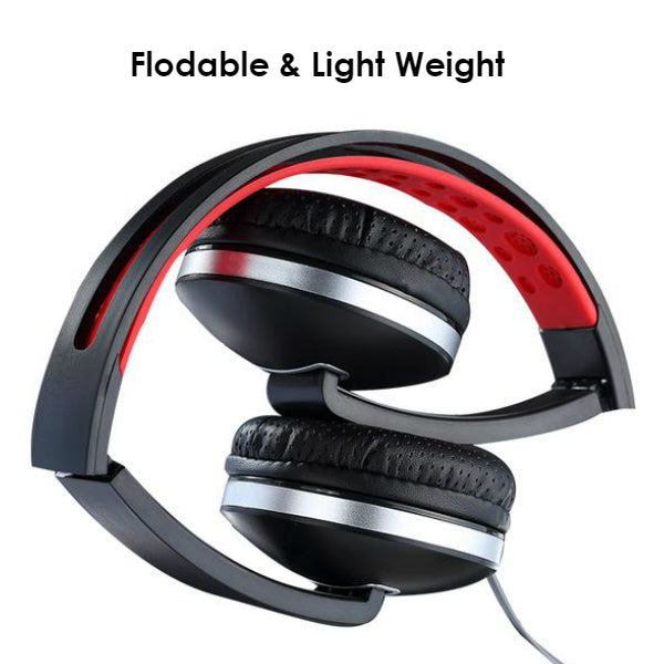 PTron Rebel Stereo Wired Headphone with Mic For All Smartphones (Red/Black)