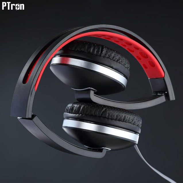 PTron Rebel Stereo Wired Headphone With Mic For Vivo V3 (Red/Black)