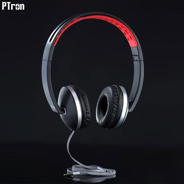 PTron Rebel Stereo Wired Headphone With Mic For All Oppo Smartphones (Red/Black)