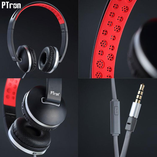 PTron Rebel Stereo Wired Headphone With Mic For Oppo F9 (Red/Black)