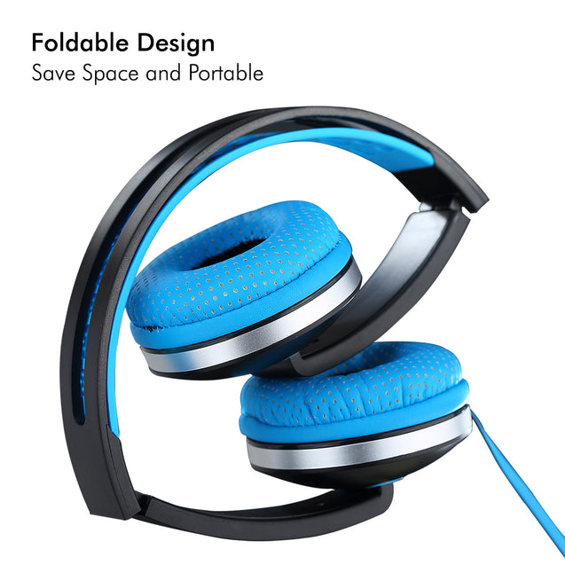 PTron Rebel Stereo Wired Headphone with Mic For All Smartphones (Light Blue/Black)